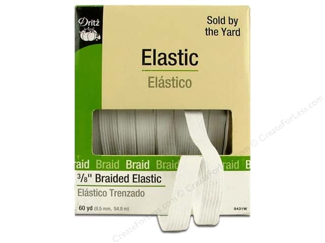 Dritz Braided Elastic 3/8 in. x 60 yd. White (60 yards)