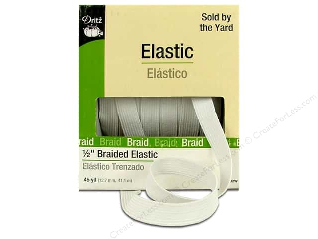 Braided Elastic by Dritz White 1/2 in x 45 yd (45 yards)