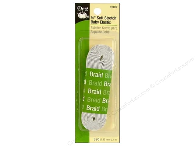 Soft Stretch Elastic by Dritz White 1/4 in x 3 yd