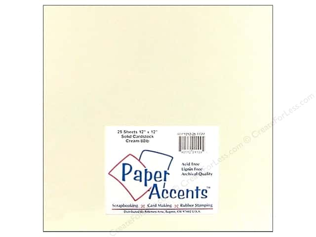 Cardstock 12 x 12 in. #119M Smooth Cream by Paper Accents (25 sheets)