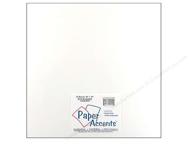 Cardstock 12 x 12 in. #128M Smooth White - 80 lb. by Paper Accents (25 sheets)