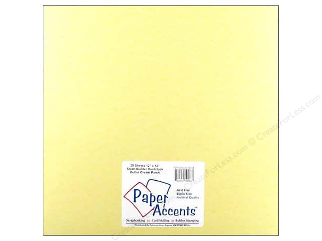 Cardstock 12 x 12 in. #10134 Stash Builder Butter Cream Parch by Paper Accents (25 sheets)