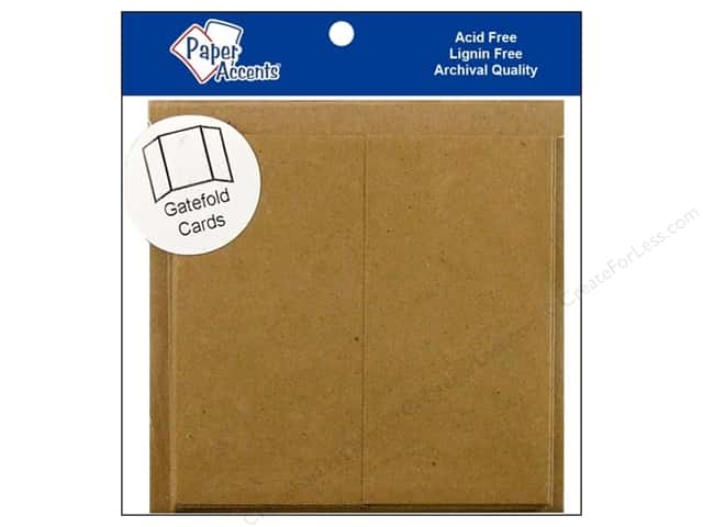 4 x 4 in. Blank Card & Envelopes by Paper Accents 5 pc. Gate Fold Brown Bag