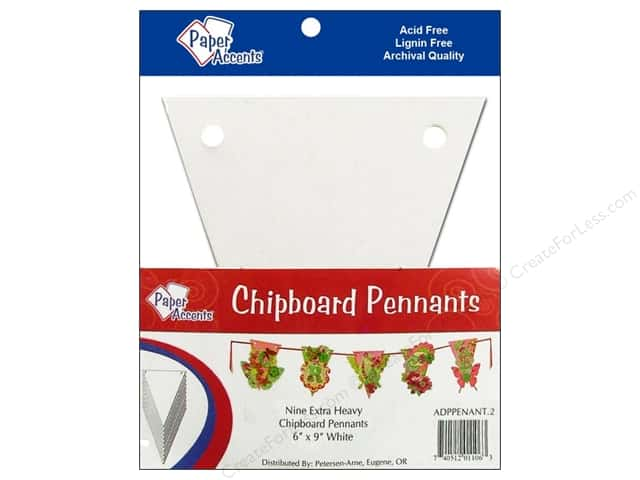 Paper Accents Chipboard Pennants 6 x 9 in. 9 pc. White