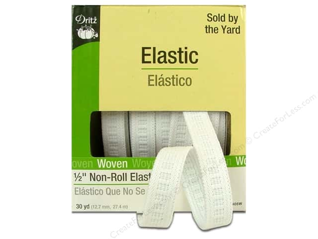Non-Roll Elastic by Dritz White 1/2 in x 30yd (30 yards)
