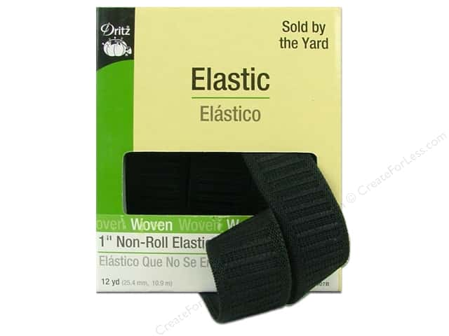 Non-Roll Elastic by Dritz Black 1 in x 12 yd (12 yards)