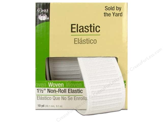 Non-Roll Elastic  by Dritz White 1 1/2 in x 10 yd (10 yards)