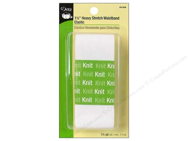 Heavy Stretch Waistband Elastic by Dritz 1 1/2 in. x 1 1/4 yd White