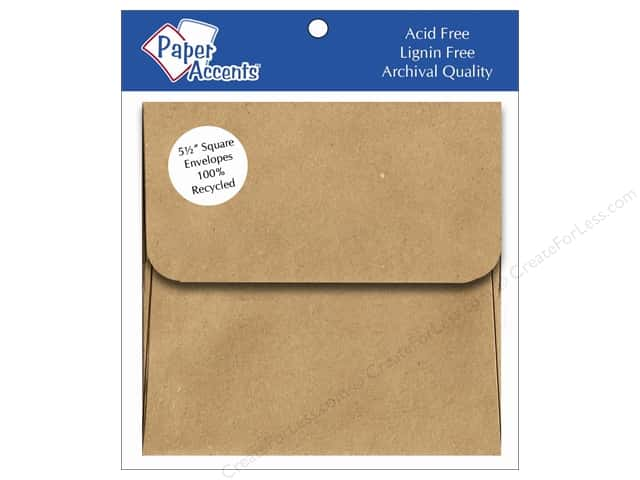 5 1/2 x 5 1/2 in. Envelopes by Paper Accents 8 pc. Brown Bag