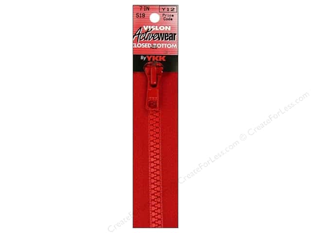 "YKK Vislon Closed Bottom Zipper 7"" Red"
