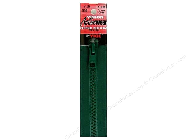 "YKK Vislon Closed Bottom Zipper 7"" Dark Green"
