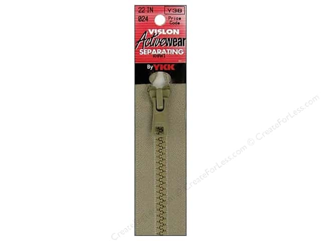 YKK Vislon Separating Zipper 22 in. Khaki