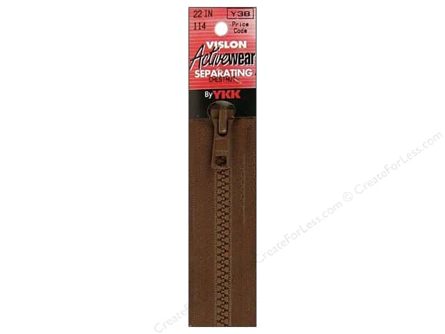 YKK Vislon Separating Zipper 22 in. Chestnut