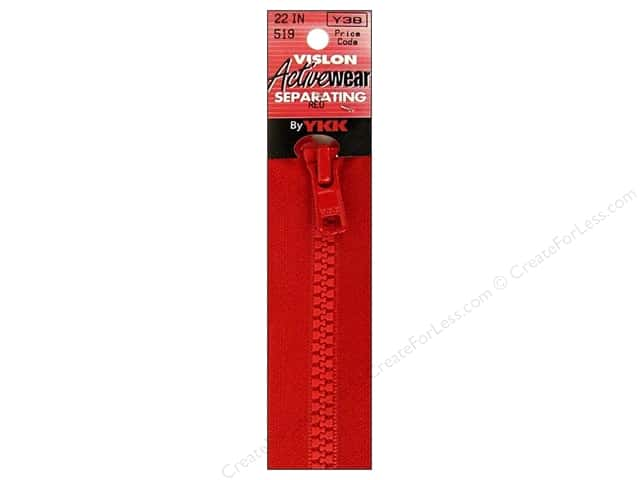YKK Vislon Separating Zipper 22 in. Red