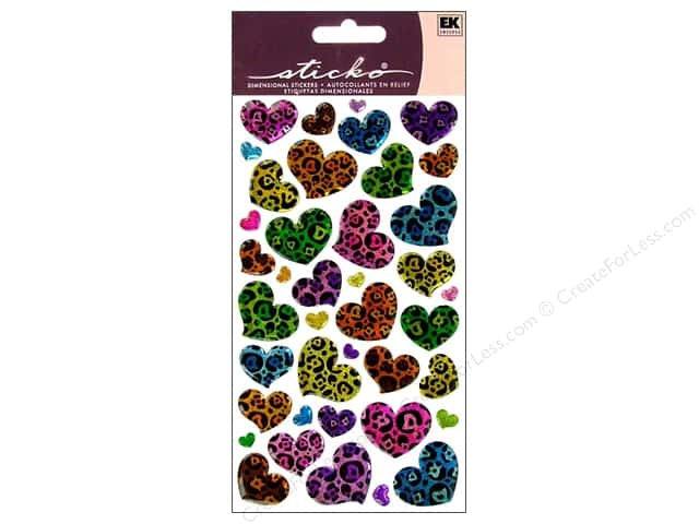 EK Sticko Stickers Sparkler Animal Print Hearts