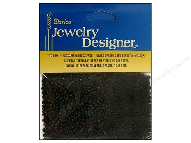 Darice 10/0 Glass Seed Beads 20 gm. Opaque Black