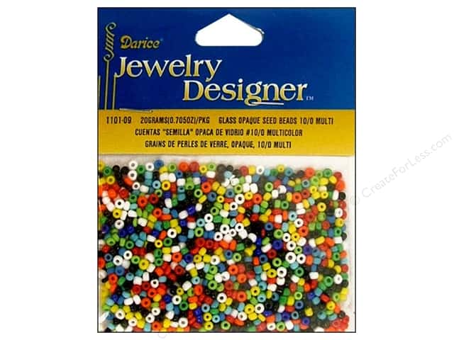 Darice 10/0 Glass Seed Beads 20 gm. Opaque Multi