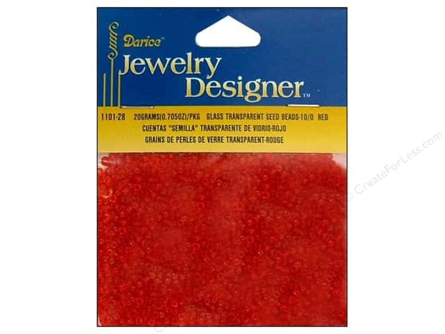 Darice 10/0 Glass Seed Beads 20 gm. Transparent Red