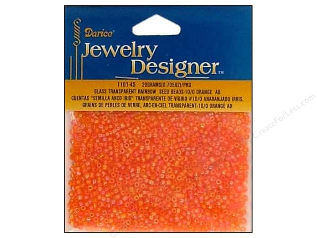 Darice 10/0 Glass Seed Beads 20 gm. Transparent Orange AB