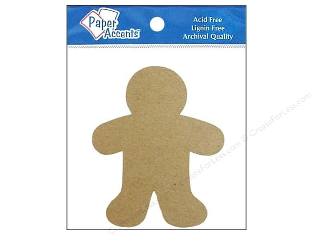 Paper Accents Chipboard Shape Gingerbread Man 8 pc. Natural