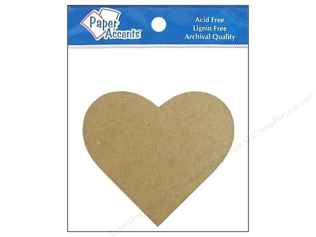 Paper Accents Chipboard Shape Heart Natural 8 pc. Kraft