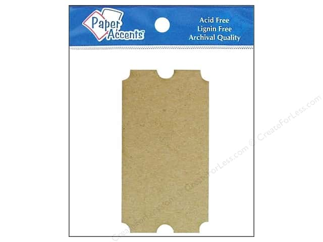 Paper Accents Chipboard Shape Ticket 8 pc. Natural