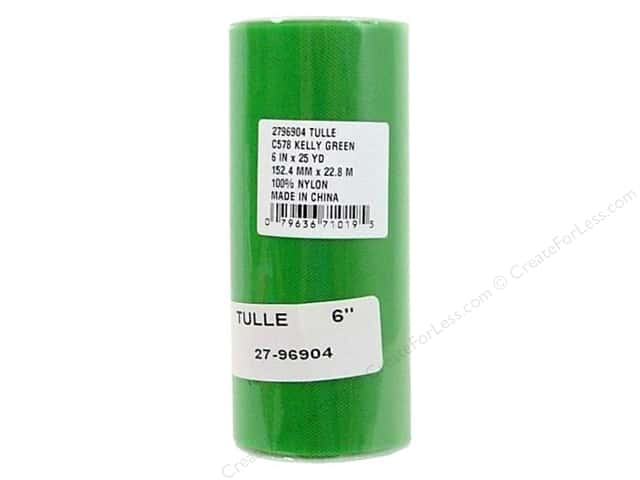 Offray Tulle 6 in. x  25 yd. Kelly Green