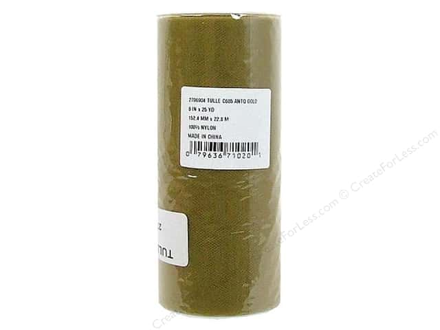 Offray Tulle 6 in. x  25 yd. Antique Gold (25 yards)