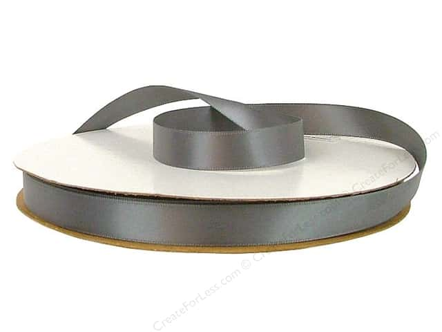 Offray Double Face Satin Ribbon 5/8 in. x 100 yd. Pewter (100 yards)