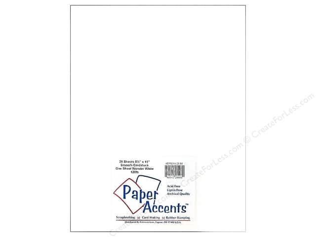 Cardstock 8 1/2 x 11 in. #86 One Sheet Wonder White - 120 lb. by Paper Accents (25 sheets)