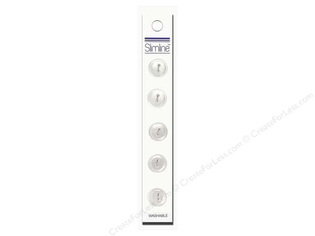 Slimline 2 Hole Buttons 9/16 in. White 5pc
