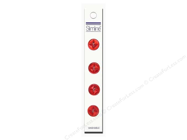 Slimline 2 Hole Buttons 5/8 in. Red 4 pc.