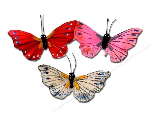 "Midwest Design Butterfly 2.5"" Feather Assorted 2pc"