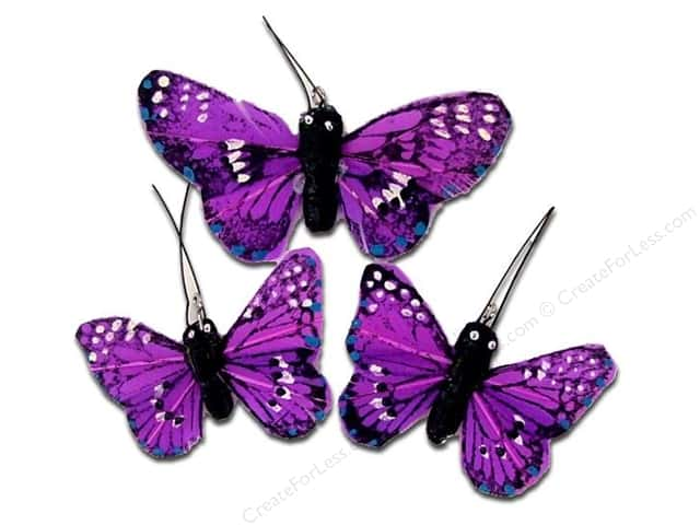 Midwest Design Butterfly Feather Small/Large Purple 3pc