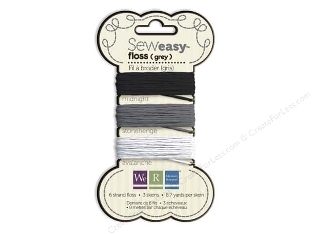 We R Memory Sew Easy Floss 3 Assorted Grey 26yd