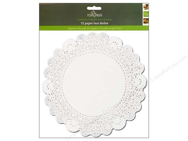 "Fox Run Craftsmen Paper Doily 10"" Round 12 pc White"