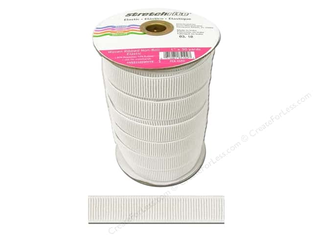 Stretchrite Non-Roll Ribbed Elastic 1 in. x 30 yd White (30 yards)
