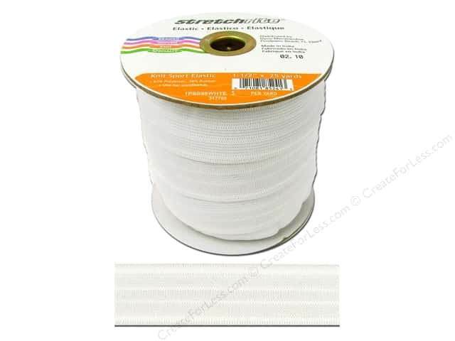 Stretchrite Knit Sport Elastic 1 1/2 in. x 25 yd White (25 yards)