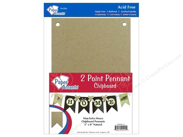 Paper Accents Chipboard Pennants 5 x 8 in Two Point 9 pc. Natural