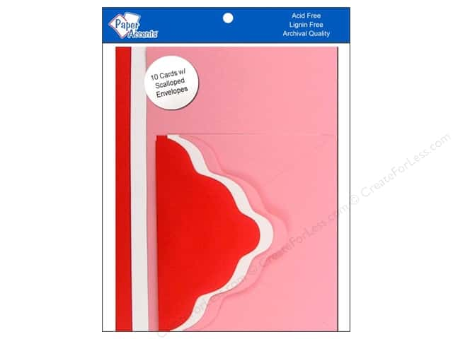 4 1/4 x 5 1/2 in. Blank Card & Envelopes by Paper Accents 10 pc. Scalloped Romance