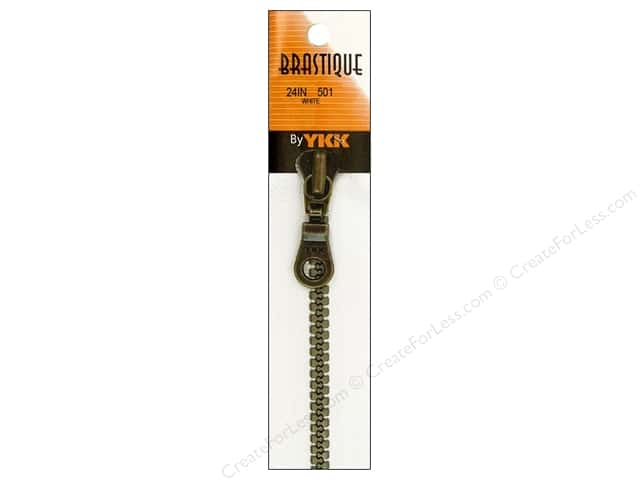 YKK Brastique 1-Way Separating Zipper 24 in. White