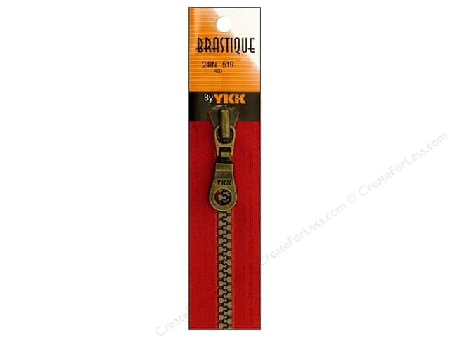 "YKK Brastique Separating Zipper 24"" Red"