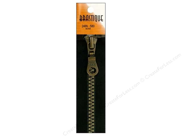 YKK Brastique 1-Way Separating Zipper 24 in. Black