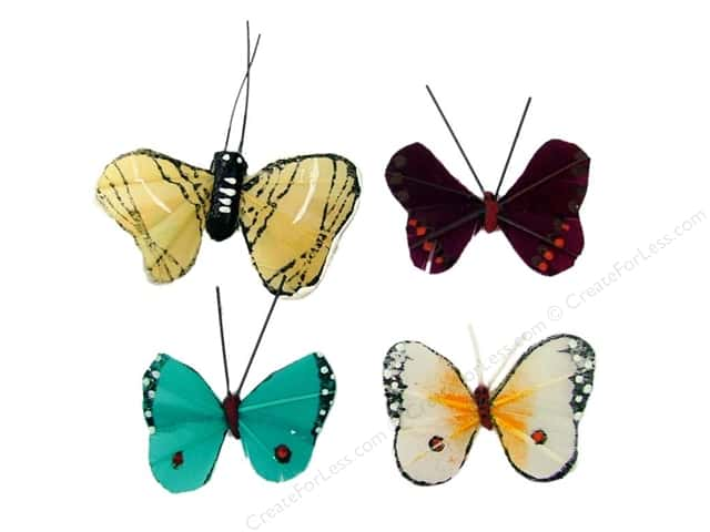 "Midwest Design Butterfly 1.25"" Feather Assorted"