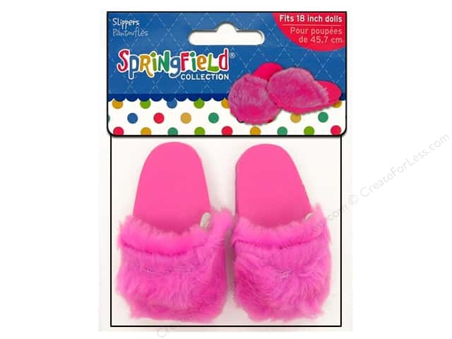 Fibre craft doll clothes springfield 18 doll slippers pink for Fibre craft 18 inch doll