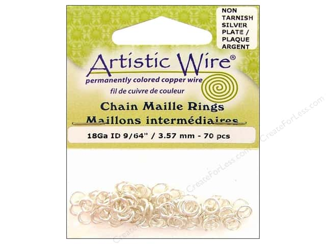 Artistic Wire Chain Maille Jump Rings 18 ga. 9/64 in. Silver 70 pc.