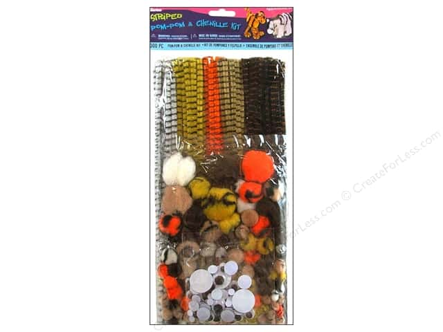 Darice Chenille Stems Stems & Pom Pom Kit Animal Striped 300 pc.