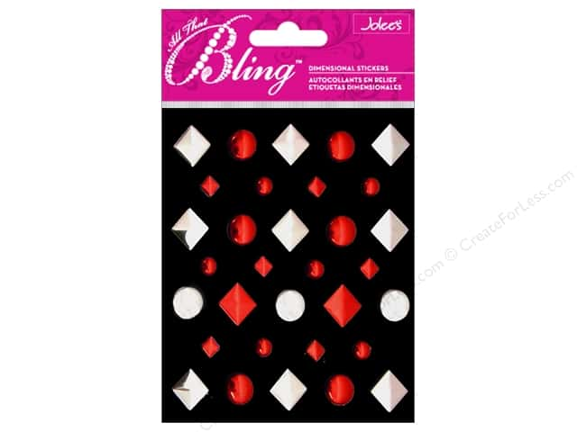 Jolee's 3D Bling Stickers Studs Red and Silver