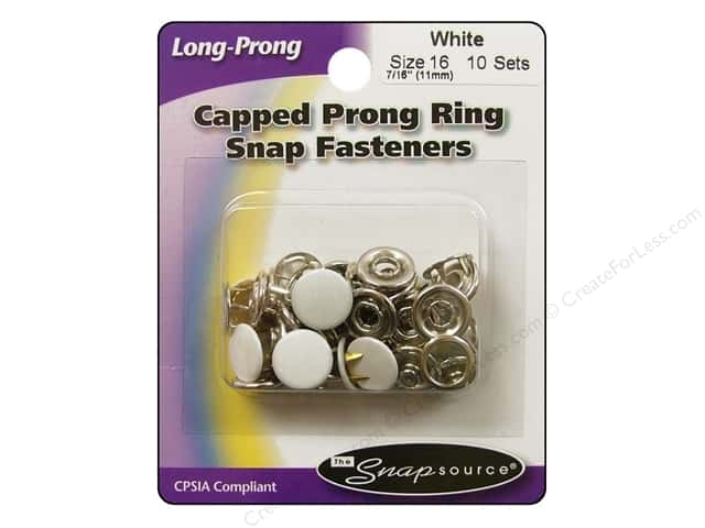 Snapsource Capped Prong Ring Snap Fasteners Size 16 White