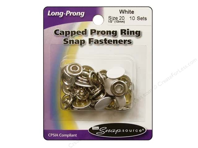 Snapsource Capped Prong Ring Snap Fasteners Size 20 White
